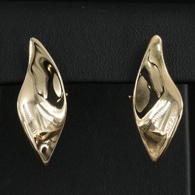 14K Yellow Gold Freeform Teardrop Earrings