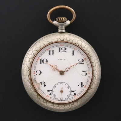 Vintage Vally Nickel Open Face Pocket Watch