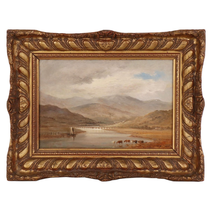 Landscape Oil Painting of Glandovey, North Wales, Late 19th Century