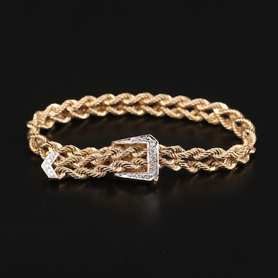14K Yellow Gold Diamond French Rope Buckle Bracelet