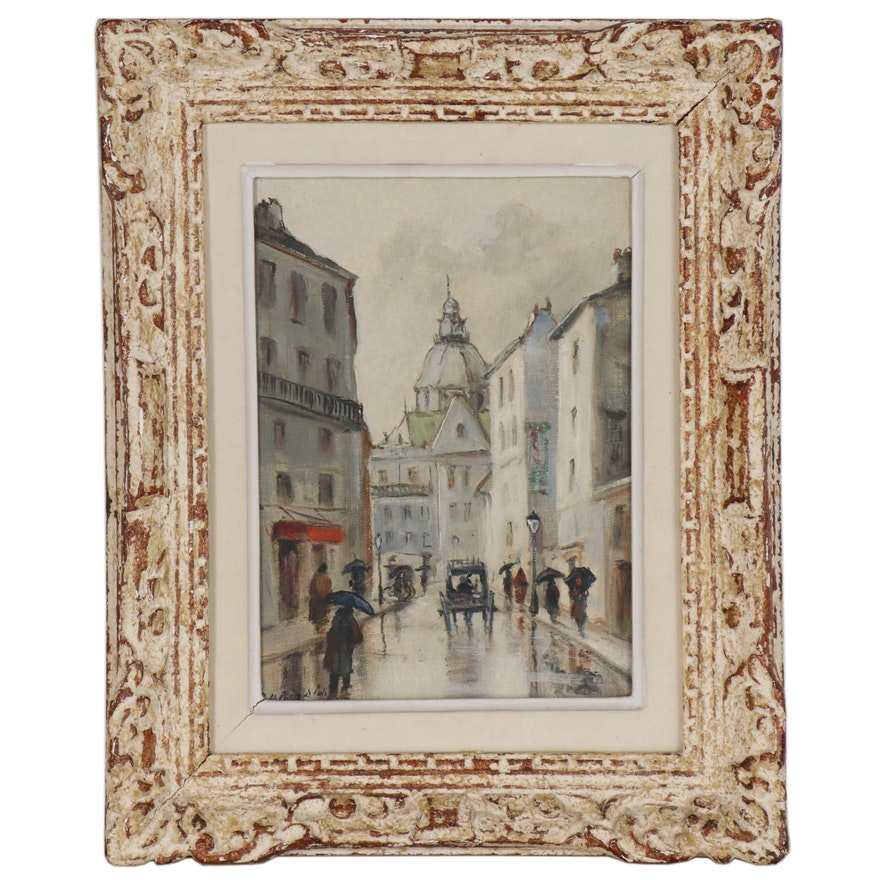 "Street Scene Oil Painting ""Paris, Rue St. Paul"", Mid 20th Century"