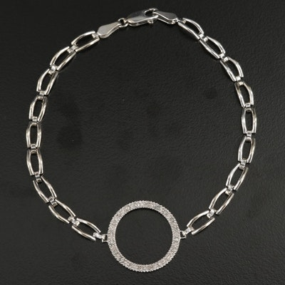 14K White Gold Diamond Halo Pendant Bracelet