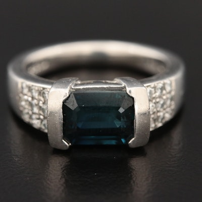 Platinum 2.21 CT Sapphire and Diamond Ring