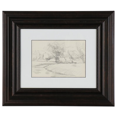 Franklin White Graphite Drawing of Landscape