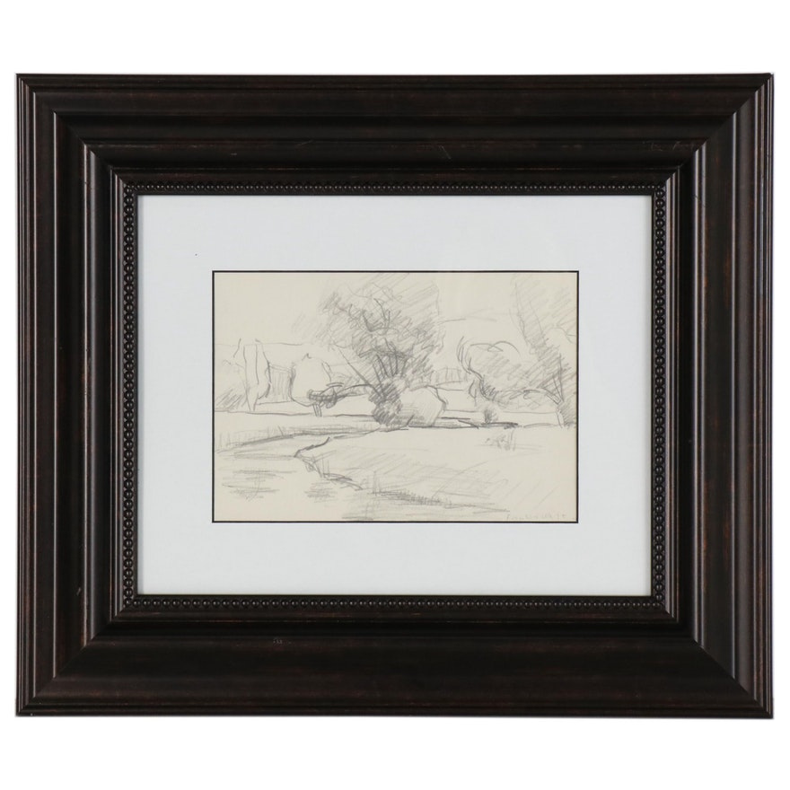 Franklin White Graphite Drawing of Landscape