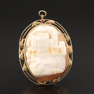 10K Yellow Gold Carved Shell Landscape Cameo Converter Brooch
