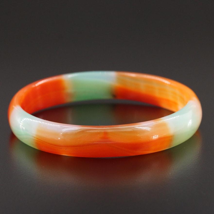 Carved Agate Bangle Bracelet