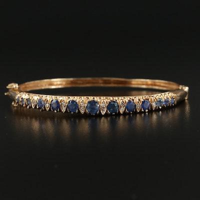 14K Yellow Gold Sapphire and Diamond Graduated Hinged Bracelet