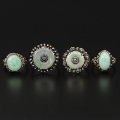 Sterling Silver Jadeite Adjustable Rings