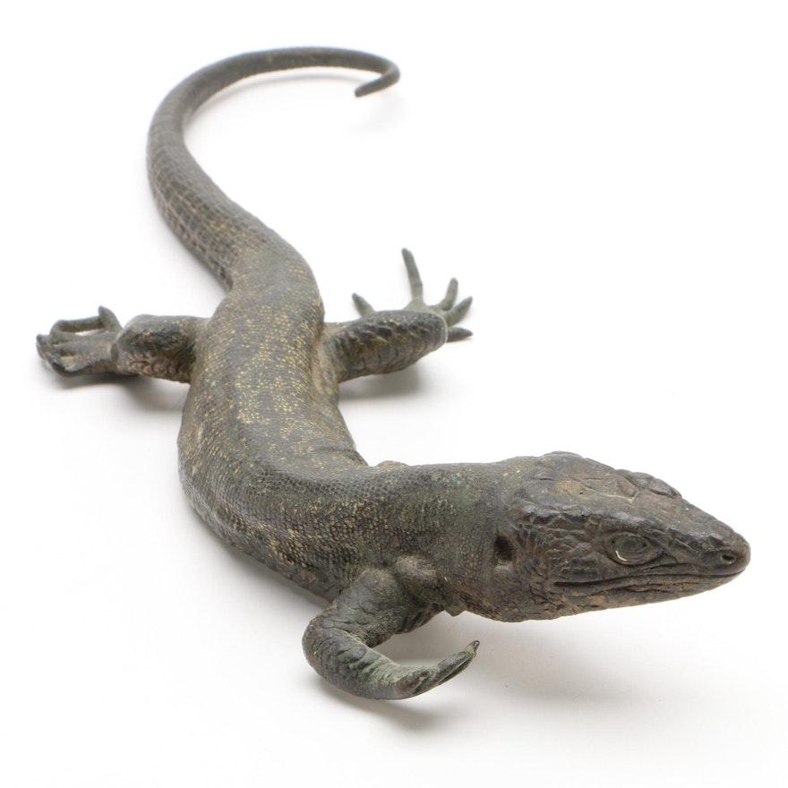 Franz Bergman Foundry Cold-Painted Bronze Sculpture of a Lizard