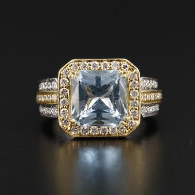 Sonia Bitton 18K White and Yellow Gold 4.10 CT Aquamarine Ring with Diamond Halo
