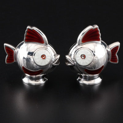 Meka of Denmark Enameled Sterling Silver Salt and Pepper Shakers