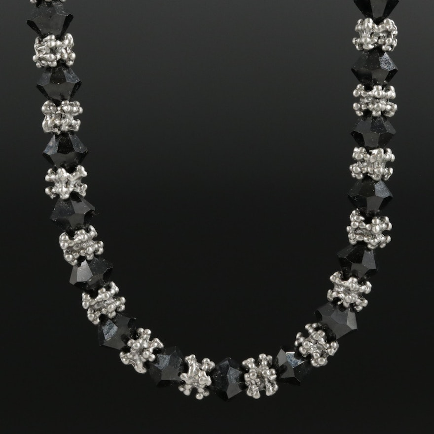 Glass Beaded Necklace with Sterling Silver Clasp