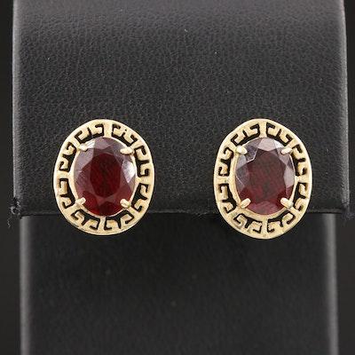 14K Yellow Gold Garnet Greek Key Button Earrings
