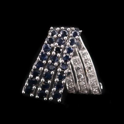 14K White Gold Sapphire and Diamond Ribbon Pendant