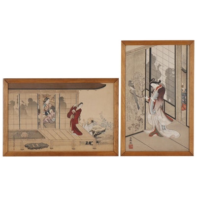 Japanese Ukiyo-e Woodblocks of Female Figures, Early 20th Century