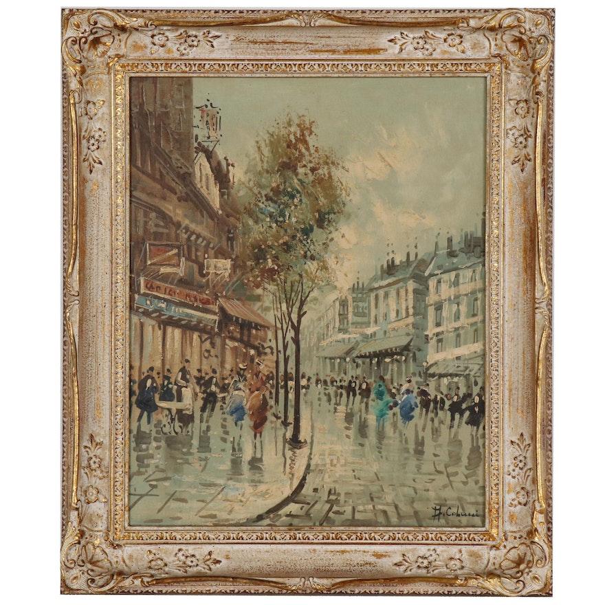 Parisian Street Scene Oil Painting, Mid 20th Century