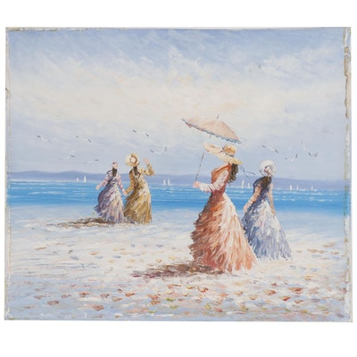 Oil Painting of a Beach Scene with Female Figures