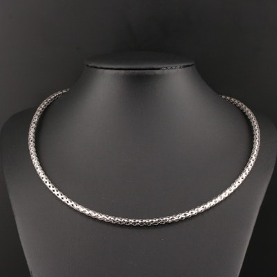 Weaved 14K White Gold Openwork Necklace