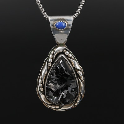 Vincent Sterling Melanite Garnet and Lapis Lazuli Pendant on Box Chain Necklace