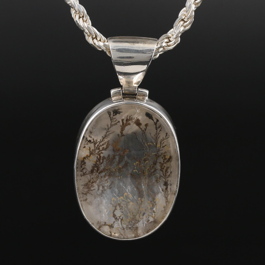 Starborn Sterling Silver Dendritic Quartz Pendant on Rope Chain Necklace
