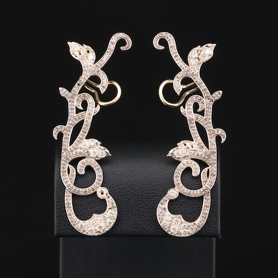 Sterling Silver Diamond Climber Earrings Featuring 14K White Gold Accents