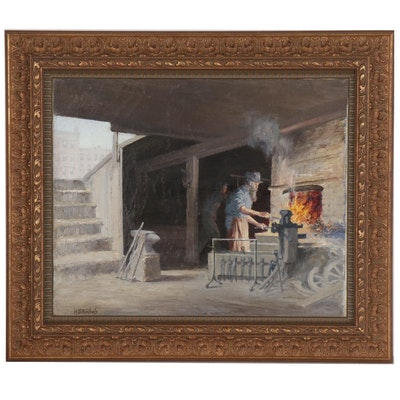 "Harley DeWitt Nichols Oil Painting of Blacksmith ""A Scene in New York"""