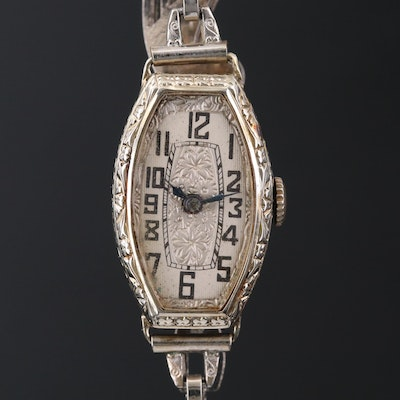Vintage Helbros 18K White Gold Stem Wind Wristwatch