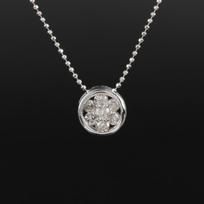 14K White Gold Diamond Pendant Necklace Featuring Bead Chain