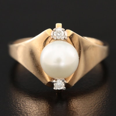 10K Yellow Gold Cultured Pearl and Cubic Zirconia Ring