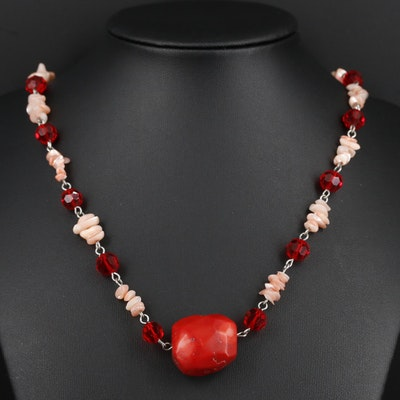 Beaded Coral, Glass, and Shell Wire Necklace