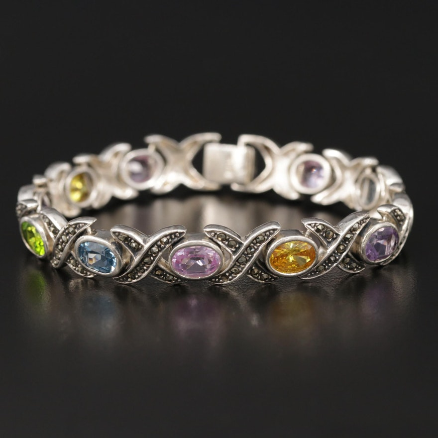 Sterling Bracelet with Marcasite, Amethyst and Synthetic Pink Sapphire