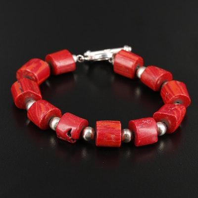 Sterling Silver Beaded Coral Bracelet