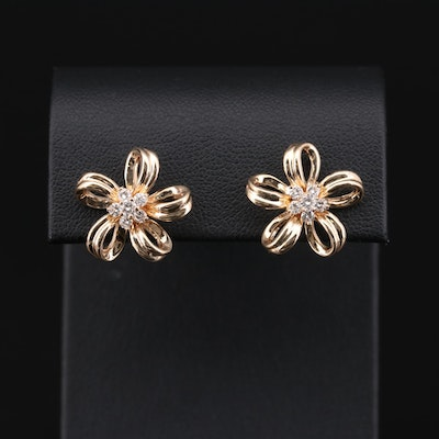 14K Yellow Gold Diamond Floral Earrings