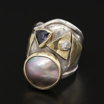 Sterling Signed  Amethyst, White Sapphire and Pearl Ring