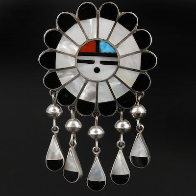 Ralph and Lillie Kallestewa Zuni Sterling Silver Sunface Inlay Converter Brooch