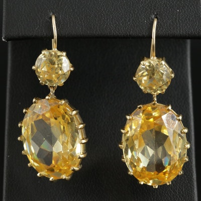 18K Yellow Gold Cubic Zirconia Drop Earrings