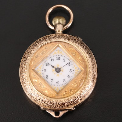 Antique 18K Gold and Enamel Convertible Pocket Watch