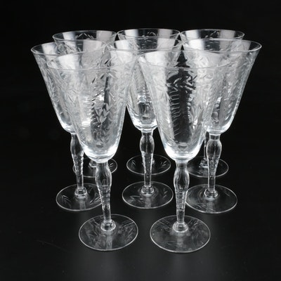American Etched Glass Wine Glasses, Mid to Late 20th Century