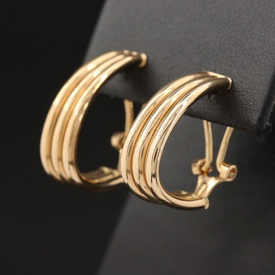 14K Yellow Gold J-Hoop Earrings