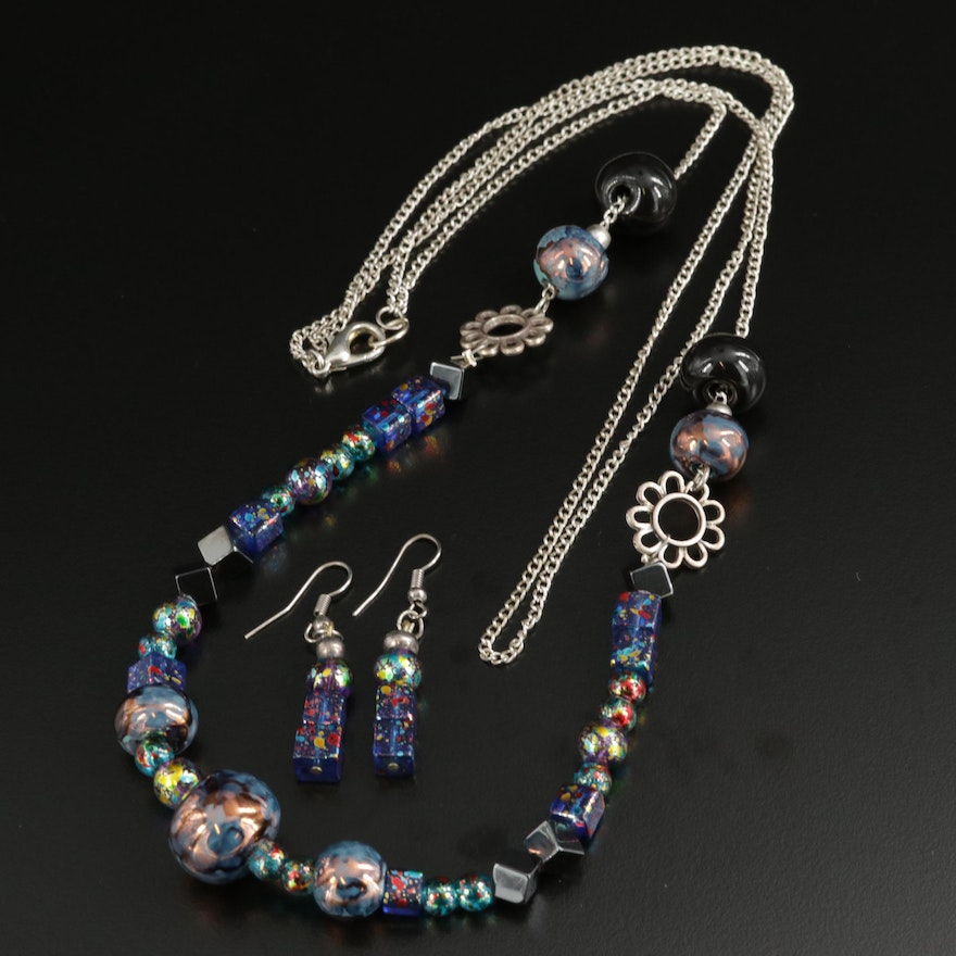 Glass Beaded Necklace and Earrings