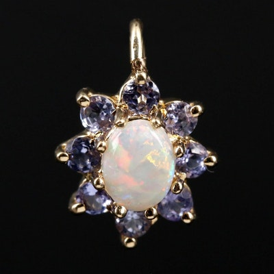 14K Yellow Gold Opal and Tanzanite Pendant