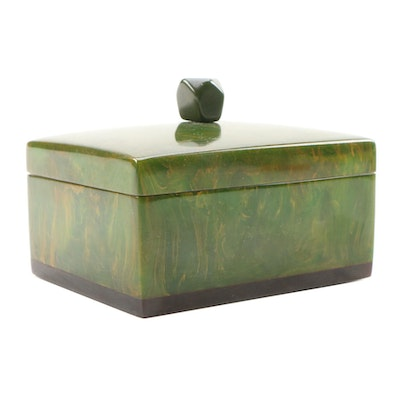 Green Marbled Bakelite Box