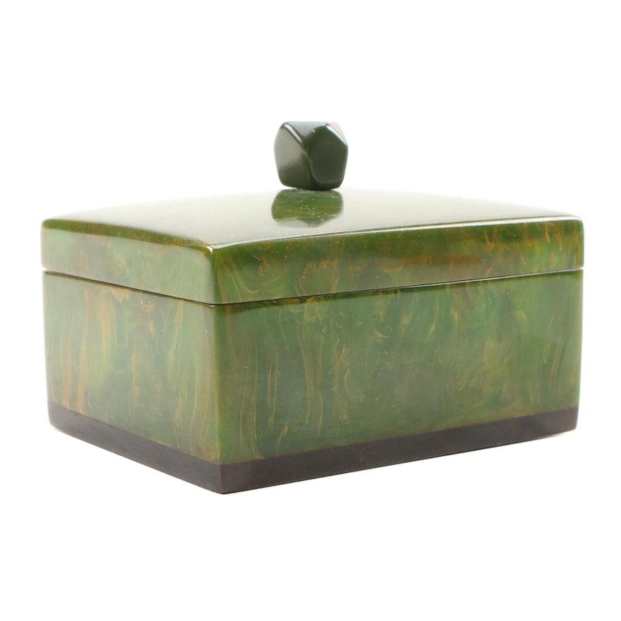 Green Marbled Bakelite Box