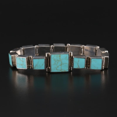 Mexican Sterling Silver Turquoise Bracelet
