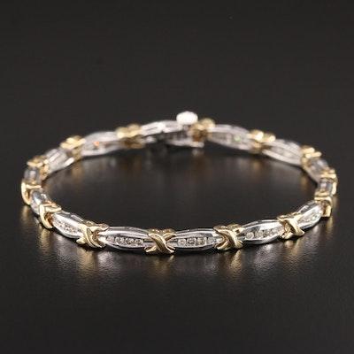 10K White and Yellow Gold 1.00 CTW Diamond Bracelet