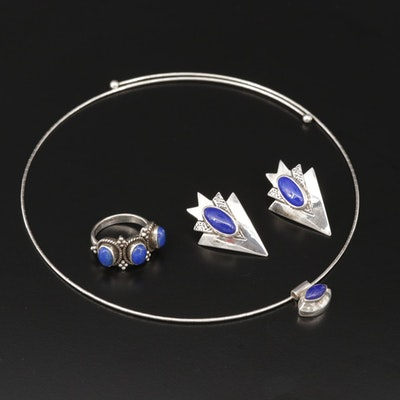 Sterling Silver Lapis Lazuli Necklace, Earrings and Ring