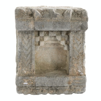 Indian Hand-Carved Sandstone Wall Shrine Architectural Element, 19th Century