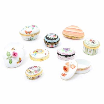Hand-Painted Porcelain Boxes Featuring Herend and Limoges