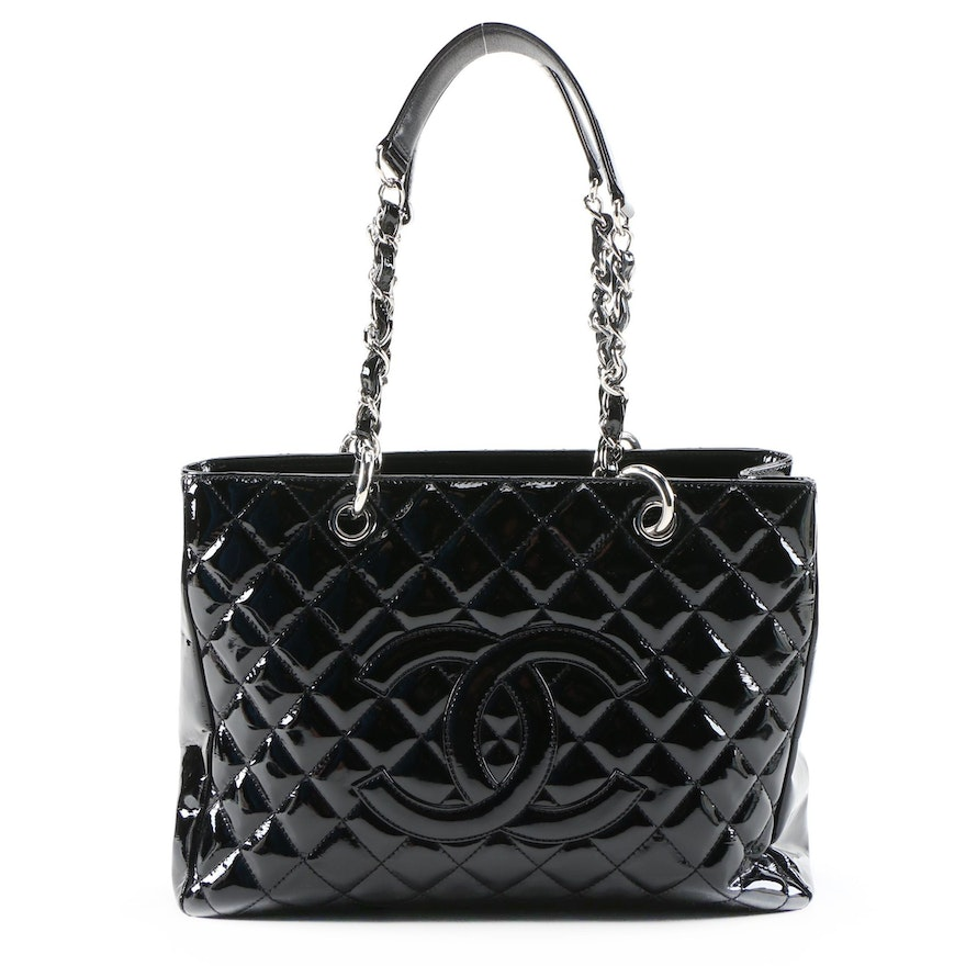 Chanel Grand Shopping Tote in Black Quilted Patent Leather and Leather